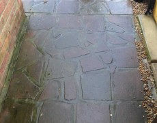crazy paving patio before jet washing. Patio washing Norfolk