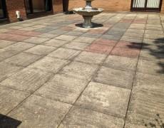 Concrete slab patio needs pressure washing. Patio washing Norfolk