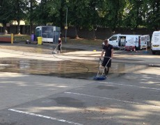 Pressure washing a supermarket car park in Norfolk