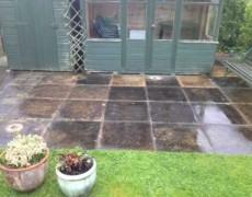 Martham patio before pressure washing. Patio washing Norfolk