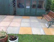 Martham patio after pressure washing. Patio washing Norfolk