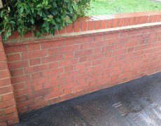 brick wall after pressure cleaning